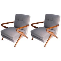 Pair of Wooden Armchairs in Grey Mohair, Attributed to Carlo de Carli, 1960s