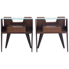 Pair of Wooden Bedside Tables with Glass Top