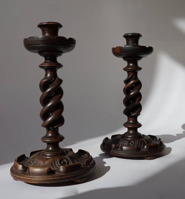 Hollywood Regency Pair of Wooden Candlesticks For Sale