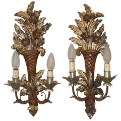 Pair of Wooden Carved Tole Toleware Sconces with Gilt Flowers, Italy, 1920s