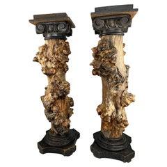 Pair of wooden columns, 19th c