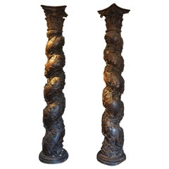 Pair of Wooden Columns