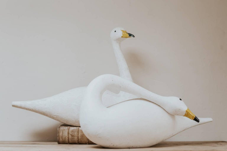 British Pair of Wooden Decoy Swans For Sale
