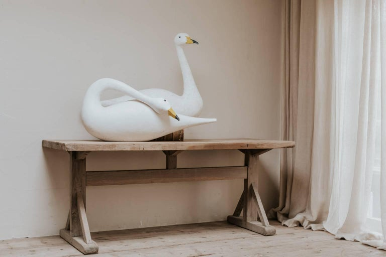 Contemporary Pair of Wooden Decoy Swans For Sale