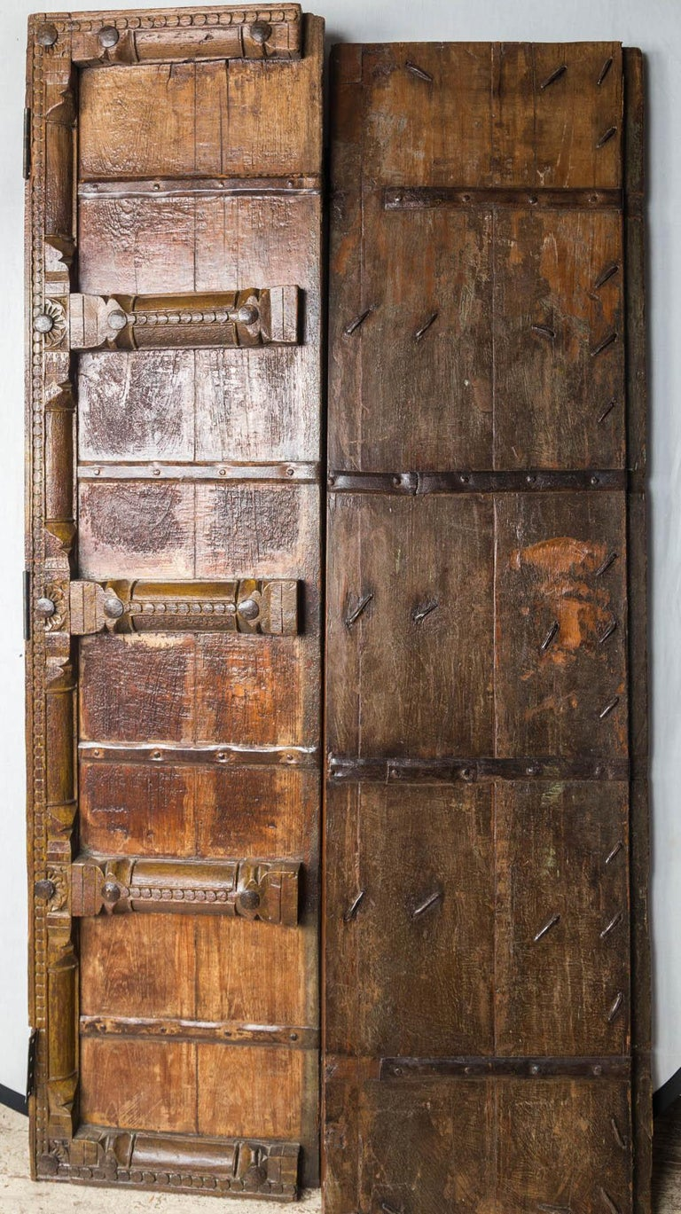 Iron Pair of Wooden Doors For Sale