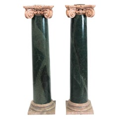 Pair of Wooden Faux Painted Marbleized Pedestals