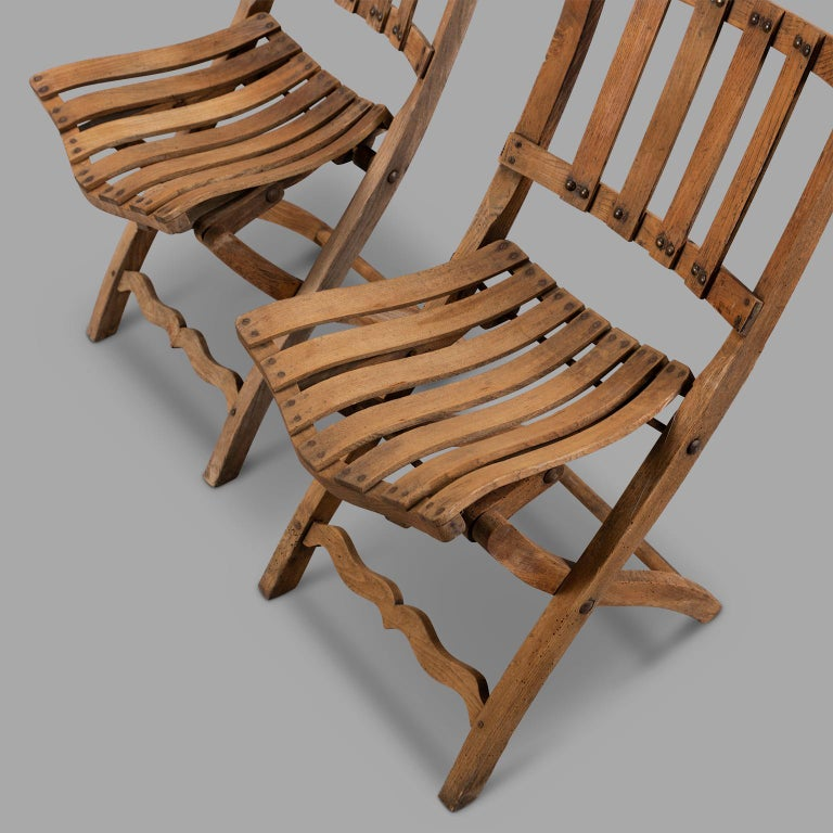 20th Century Pair of Wooden Folding Chairs, circa 1900 For Sale