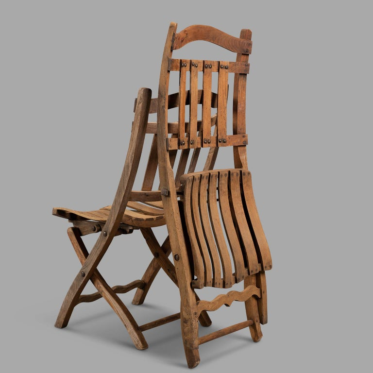 Pair of Wooden Folding Chairs, circa 1900 For Sale 1