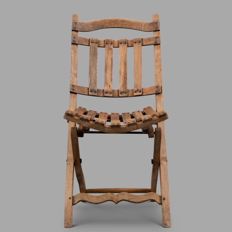 Pair of Wooden Folding Chairs, circa 1900 For Sale 2