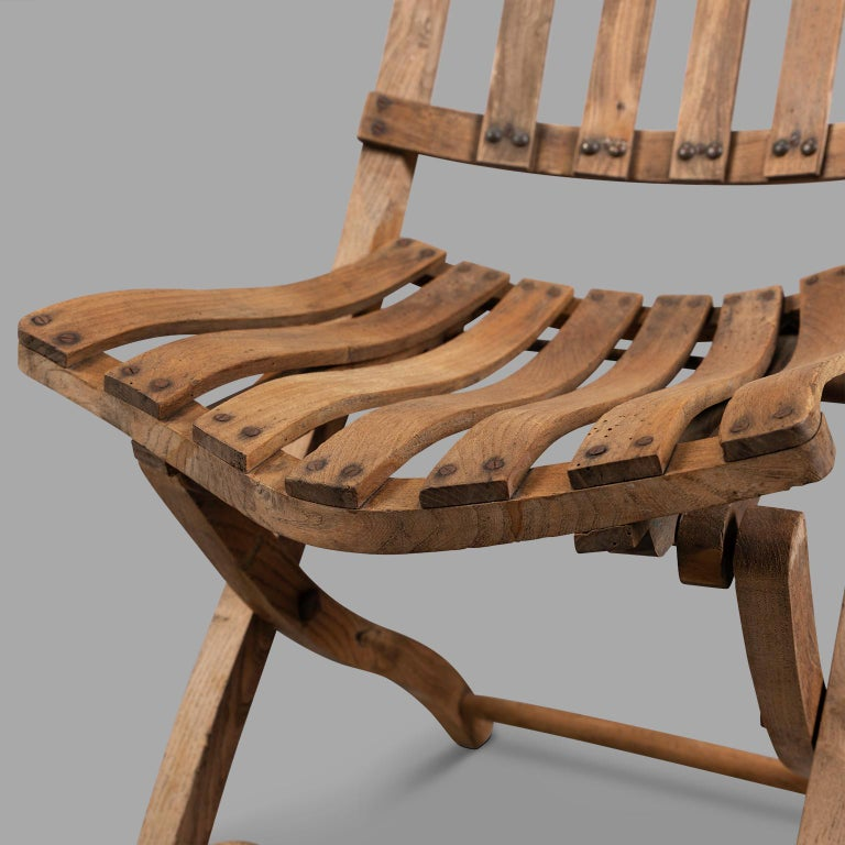 Pair of Wooden Folding Chairs, circa 1900 For Sale 4