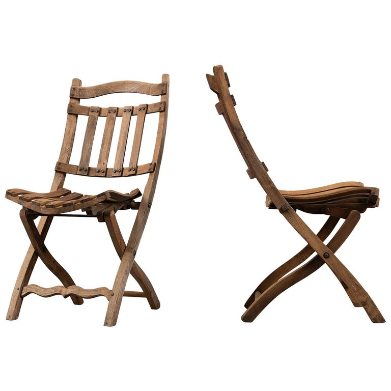 Pair of Wooden Folding Chairs, circa 1900 For Sale