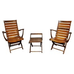 Pair of Wooden Folding Garden Chairs with Table, 1950s