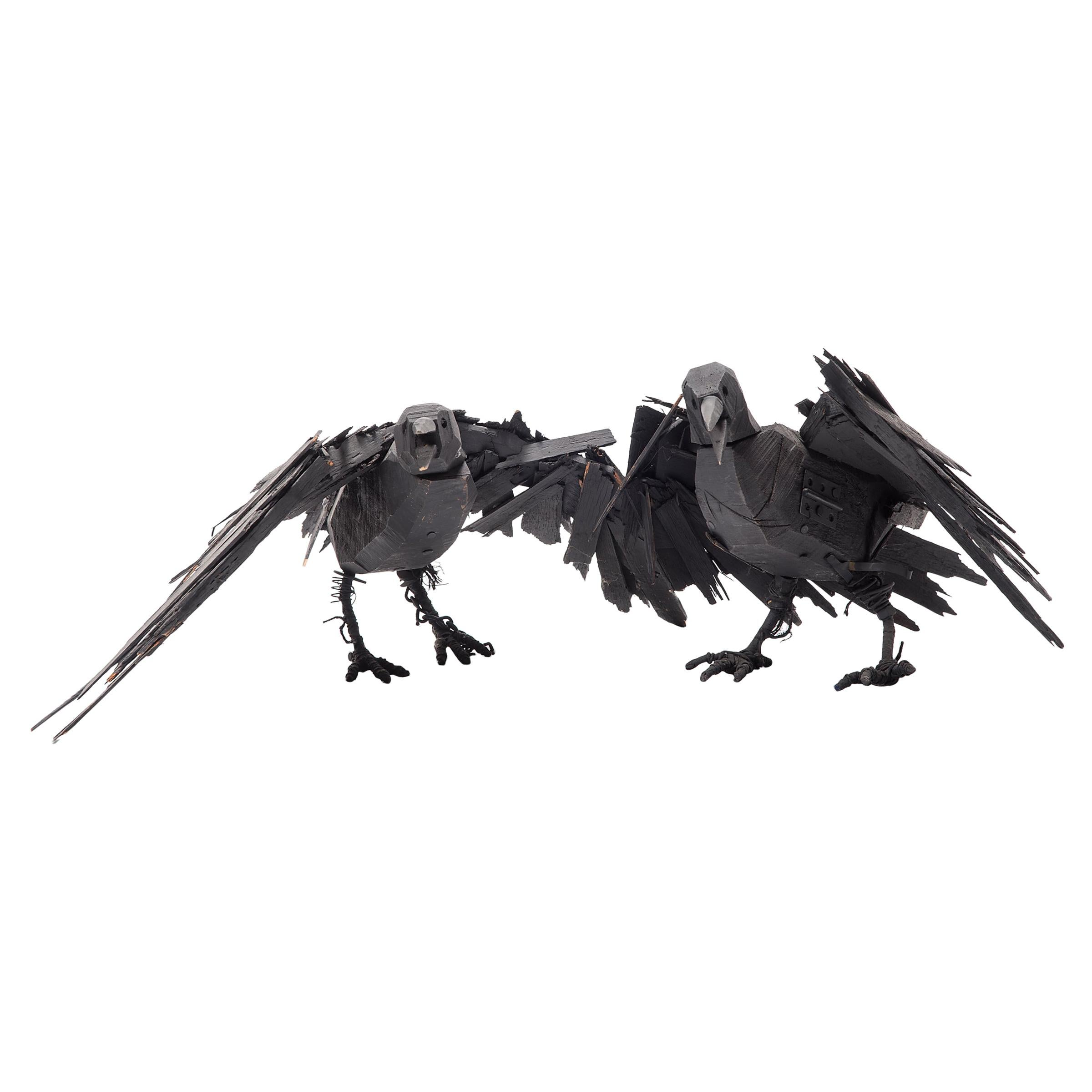 Pair of Wooden Folk Art Crows