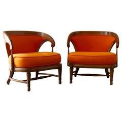 Pair of Wooden Framed Chairs, circa 1970
