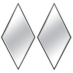 Pair of Wooden Framed Diamond Mirrors