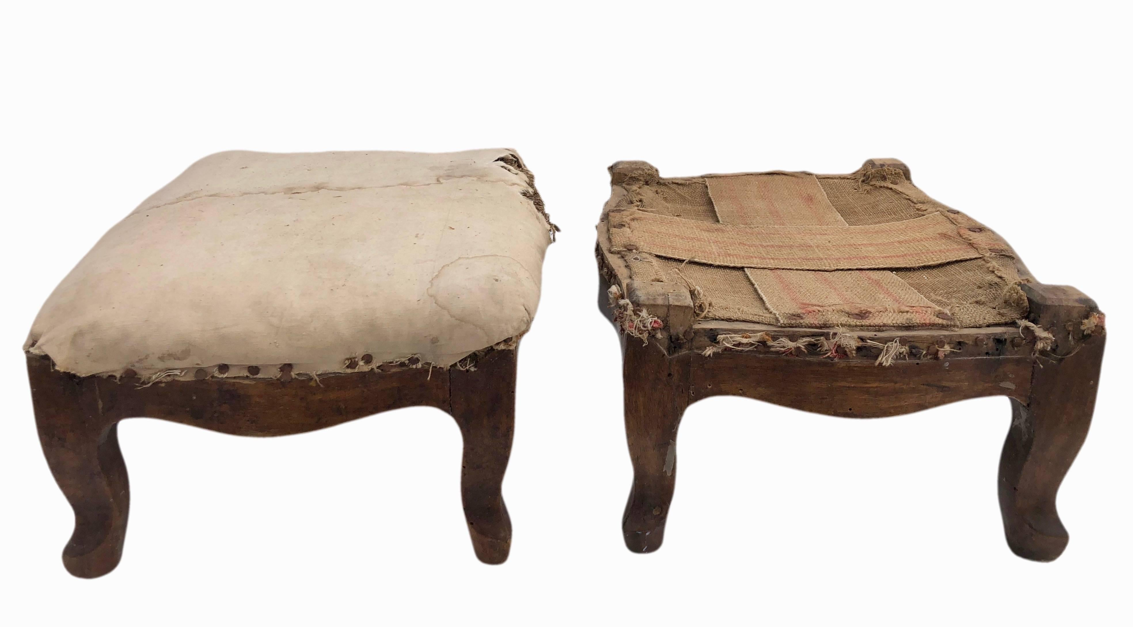 Swell Pair Of Wooden French Regence Footstools Stuffed With Straw Early 1800S Gamerscity Chair Design For Home Gamerscityorg
