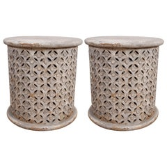 Pair of Wooden Garden Stools