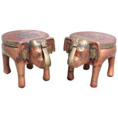Pair of Wooden Hand-Carved Indian Low Stools Representing Elephants