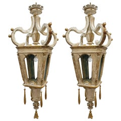 Pair of Wooden Lanterns Made from 18th Century Fragments