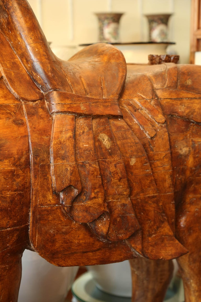 Chinese Pair of Wooden Mongolian Horses Lifesize Ching Dynasty, Late 20th Century For Sale