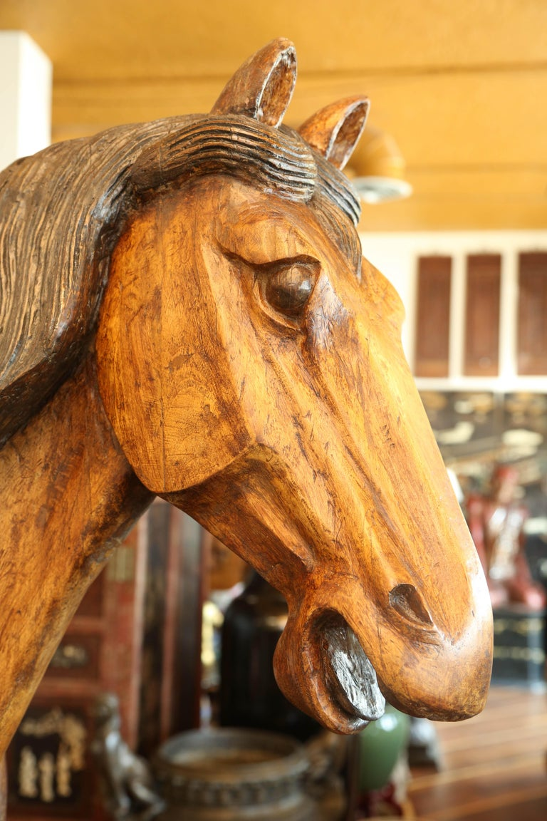 Pair of Wooden Mongolian Horses Lifesize Ching Dynasty, Late 20th Century For Sale 1