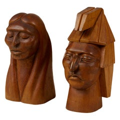 Pair of Wooden Native American Busts