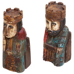 Pair of Wooden Queen and King Bookends