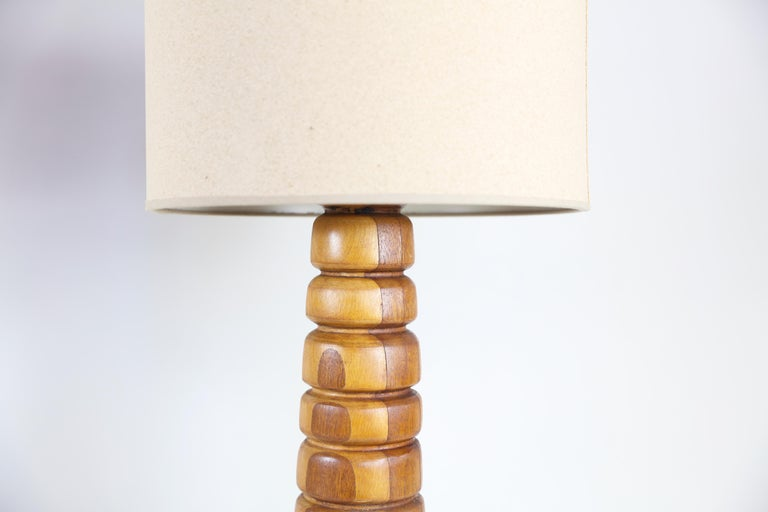 Pair of Wooden Rings Lamps Mecox Gardens with Shades 30