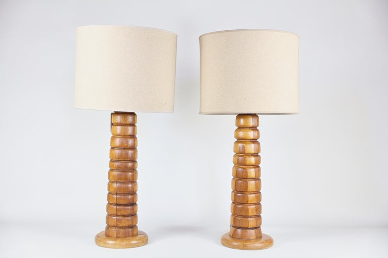 Women's or Men's Pair of Wooden Rings Lamps Mecox Gardens with Shades