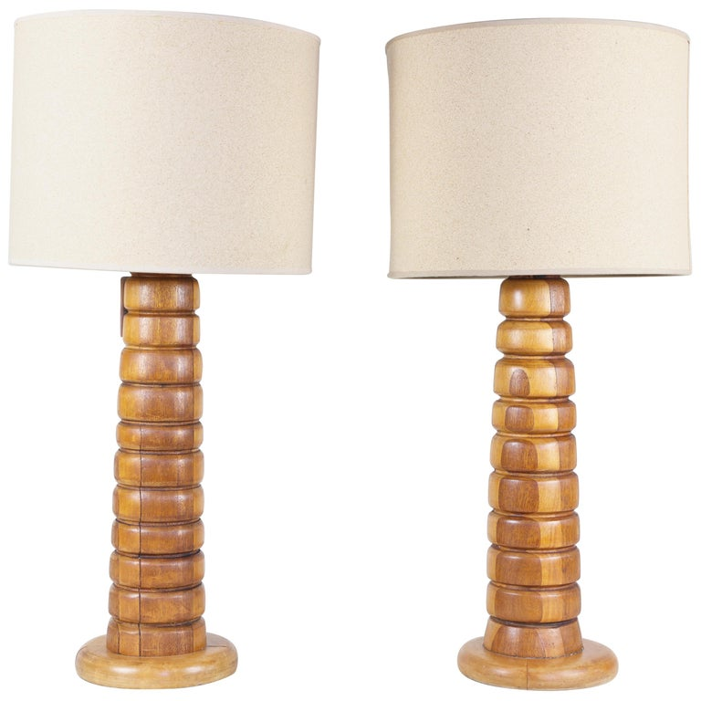 Pair of Wooden Rings Lamps Mecox Gardens with Shades