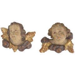 Pair of Wooden Sculptures Angel Heads, 19th Century