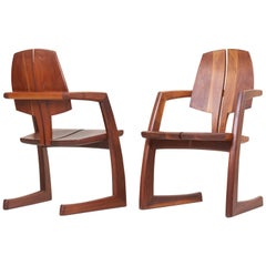 Pair of Wooden Studio Armchairs by H. Wayne Raab, US, 1970s
