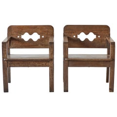 Pair of Wooden Swiss Armchairs