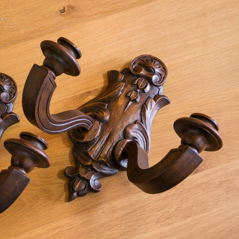 Carved Pair of Wooden Two-Arm Sconces For Sale