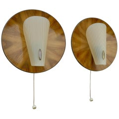 Pair of Wooden Wall Bed Lamps with Fine Brass Details, Italy, 1950s