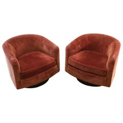 Pair of Woodmark Originals Swivel Chairs Style of Milo Baughman