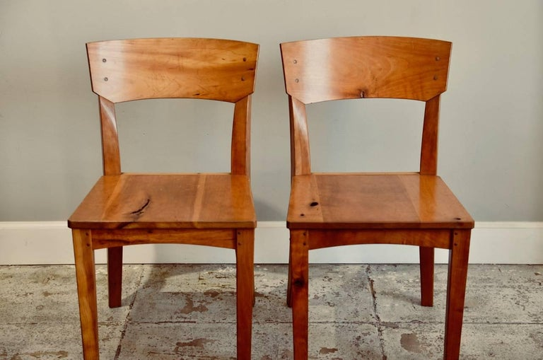 Late 20th Century Pair of Woodworker Studio Chairs For Sale