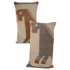 Pair of Wool Horse Pillows
