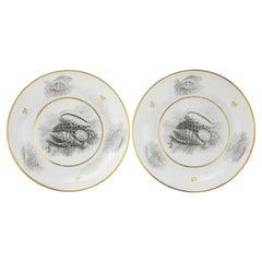 Pair of Worcester Barr Flight Barr Porcelain Saucers with Bat-Printed Shells