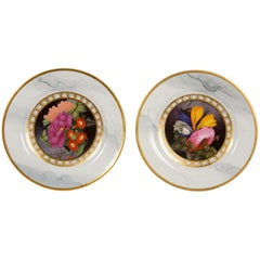Pair of Worcester Marbled Plates with Flowers Made in England circa 1810