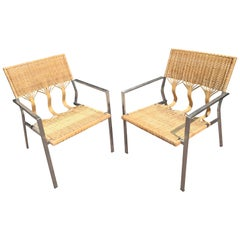 Pair of Woven Bamboo and Rattan Chairs by Adrien Gardere