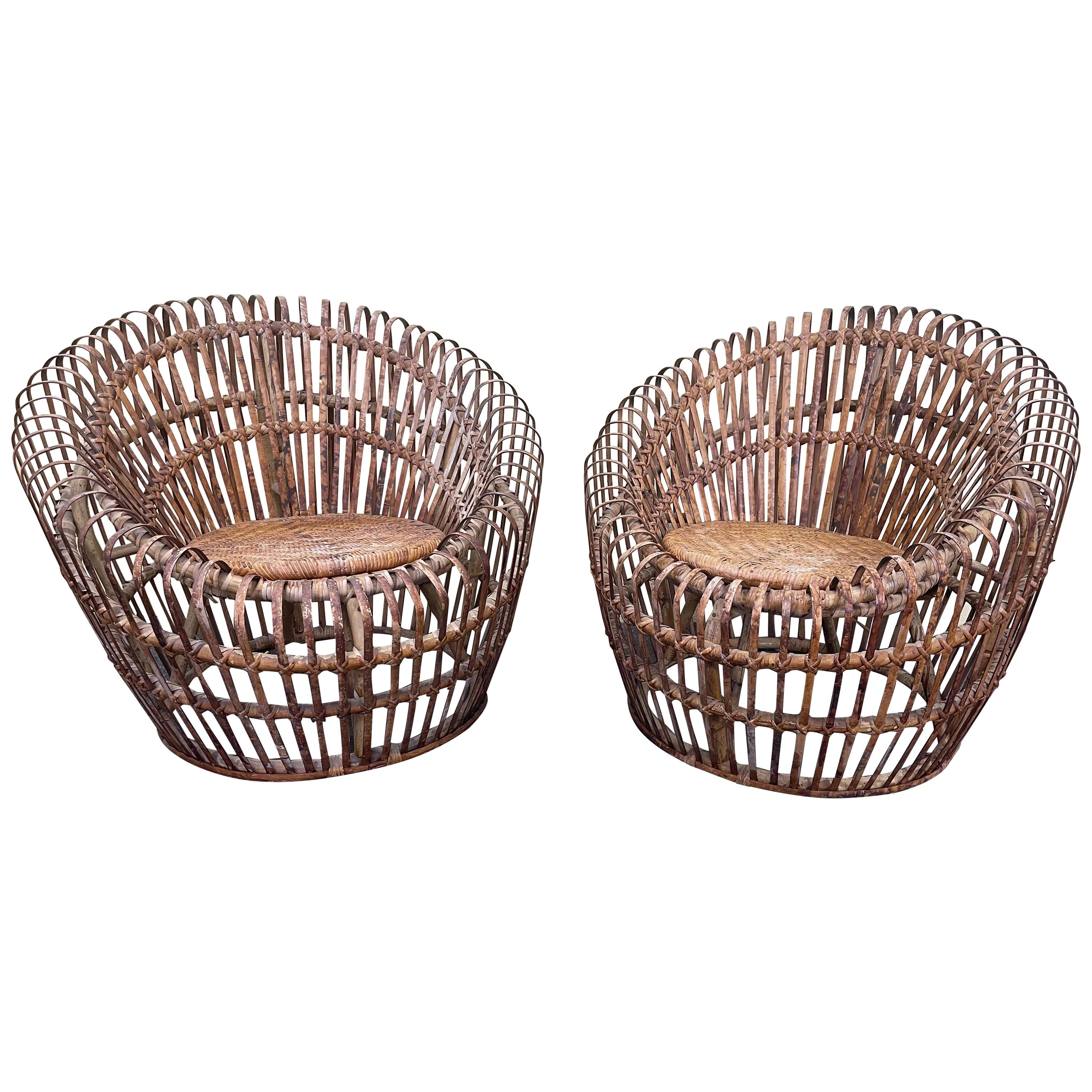 Pair of Woven Bamboo Lounge Chairs in the Style of Franco Albini