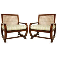 Pair of Woven Cane Chairs with Cushions