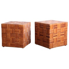 Pair of Woven Cane Cubes by Harvey Probber