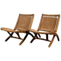 Pair of Woven Folding Chairs in the Style of Hans Wegner