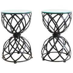 Pair of Woven Iron Basket Design Drinks Tables