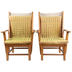 Pair of Woven Jute High Back Chairs with Cushions