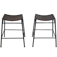 Pair of Woven Leather and Iron Bar Stools