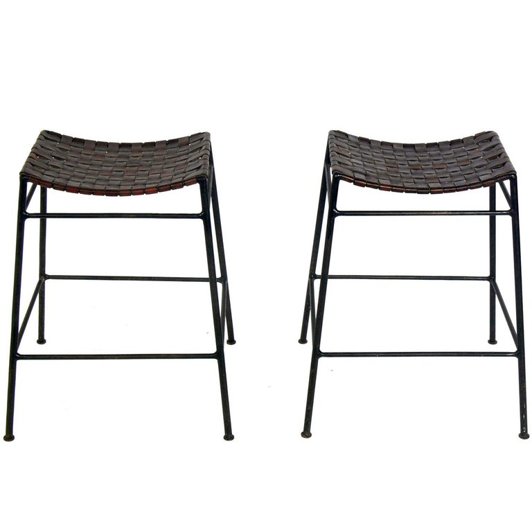 Pair Of Woven Leather And Iron Bar Stools For