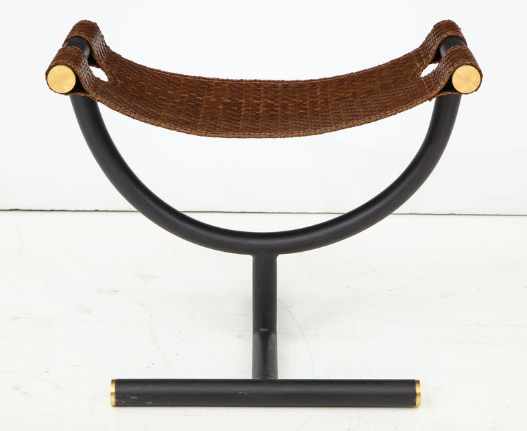Pair of Woven Leather and Steel with Brass Stools, Italy, circa 1980 For Sale 7